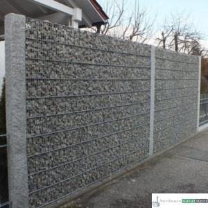 Gabionen Sichtschutz feinmaschig mit Jurakalk Füllmaterial