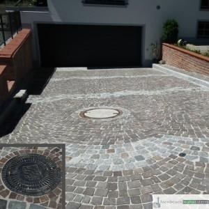 Antikes Granitpflaster und Porphyr