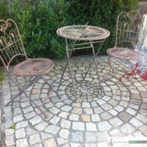 Sitzkreis aus antiken Pflastersteinen 8/10 cm