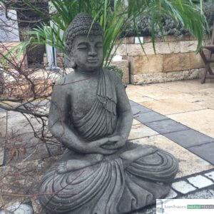 Englischer Antiksteinguss: 019. Large Stone Buddah, h 67 cm