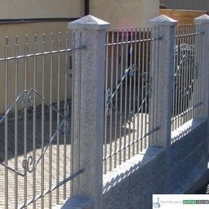 Granit-Zaunpfosten, grau, geflammt/ Zaunelement verzinkt