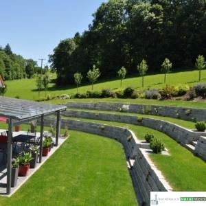 Granit-Mauersteine grau 40x20xh20 cm, Terrassenbelag Granit dunkelgrau geflammt 60x40x3 cm