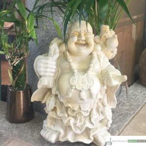 Englischer Antiksteinguss: Buddha klein, aus Gussbeton