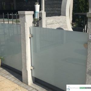 Granit-Zaunpfosten, grau, geflammt/ Zaunelement Glas