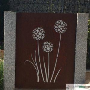 Granit-Zaunpfosten, grau, gespitzt/ Zaunelement Cortenstahl