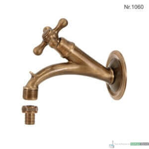"""Messing Wasserhahn mit 1/2""""Anschluss, 14,5 cm, ohne Rosette"""