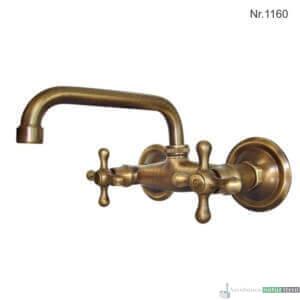 """Messing Warm-/Kaltwassermischer mit zwei 1/2""""Anschlüsse, 24 cm, h 15 cm"""