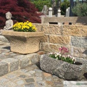 antiker Granit- Pflanztrog klein/ Boan und Mörser, jeder Trog ein Einzelstück